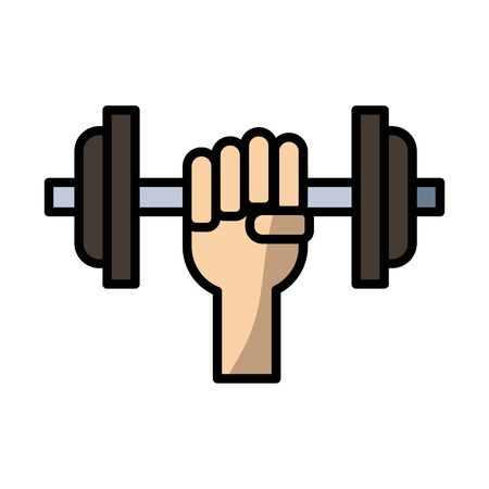 hand lifting dumbbell fill style icon vector illustration design