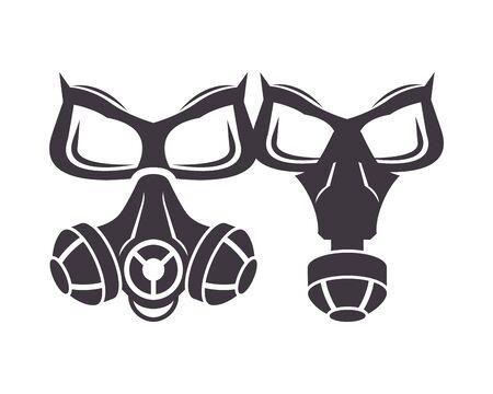 pair of biosafety gas masks icon vector illustration design