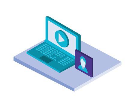 laptop computer with picture and media player vector illustration design
