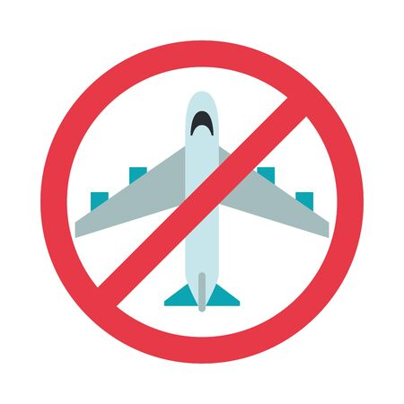 flights prohibited signal isolated icon vector illustration design Vectores