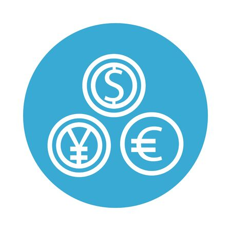 coins dollar with yen and euro line style vector illustration design