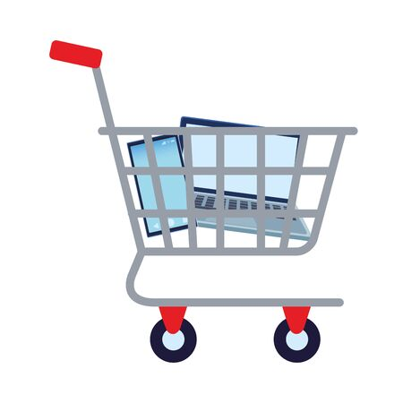 shopping cart with electronic devices vector illustration design