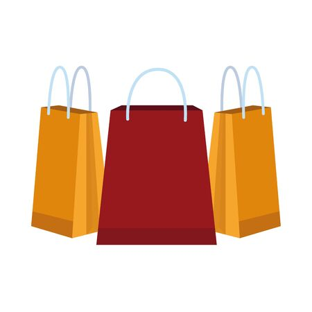 paper shopping bags isolated icons vector illustration design