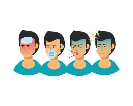 group of men sick with symptoms and use medical mask vector illustration design