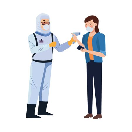 biosafety worker with thermometer laser and woman vector illustration design