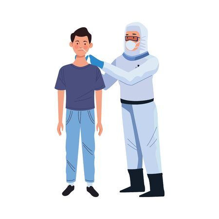 doctor using biosafety suit take a covid19 test vector illustration design