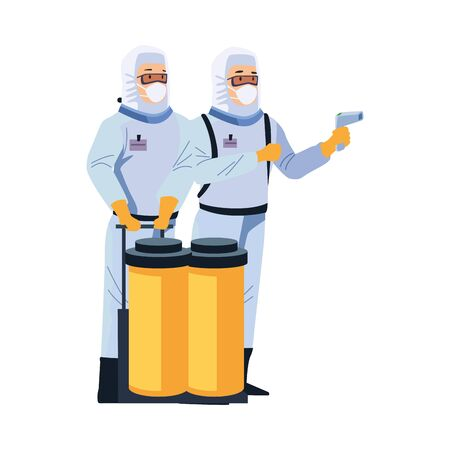 biosafety workers with thermometer laser and tanks vector illustration design