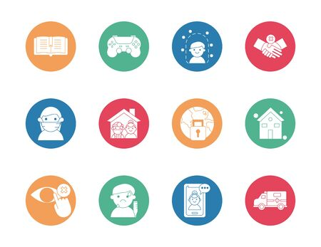 bundle of quarantine set icons vector illustration design