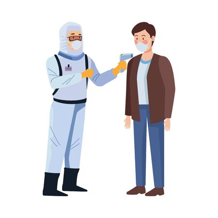 biosafety worker with thermometer laser and man vector illustration design