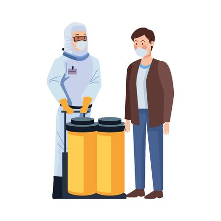 biosafety worker with tanks and man vector illustration design