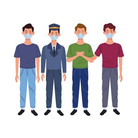 young men and taxi driver using medical masks vector illustration design
