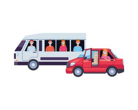 people using medical masks in transport vehicles vector illustration design