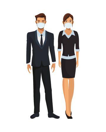 elegant business couple wearing medical masks vector illustration design Ilustración de vector