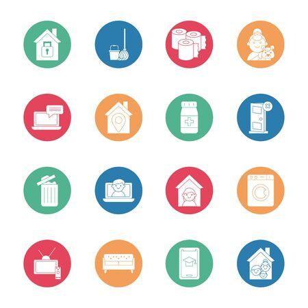 bundle of quarantine set icons vector illustration design Vektorové ilustrace