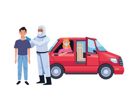 doctor using biosafety suit take a covid19 test in car vector illustration design