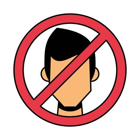 forbidden person without face masks vector illustration design