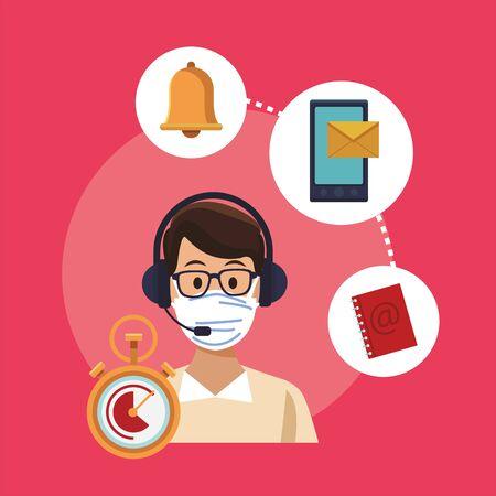 call center support male worker wearing medical mask vector illustration design