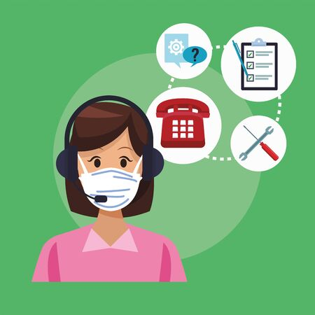 call center support female worker wearing medical mask vector illustration design Иллюстрация