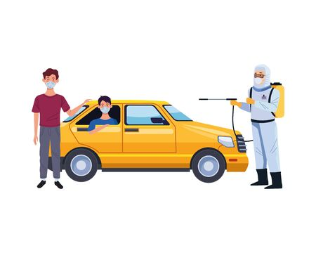 biosafety worker with sprayer portable and taxi vector illustration design