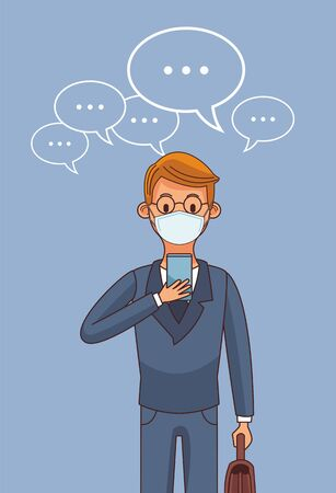 man wearing medical mask and smartphone for stay connected vector illustration design