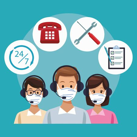 call center support workers wearing medical maskvector illustration design
