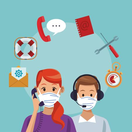call center support couple workers wearing medical mask vector illustration design