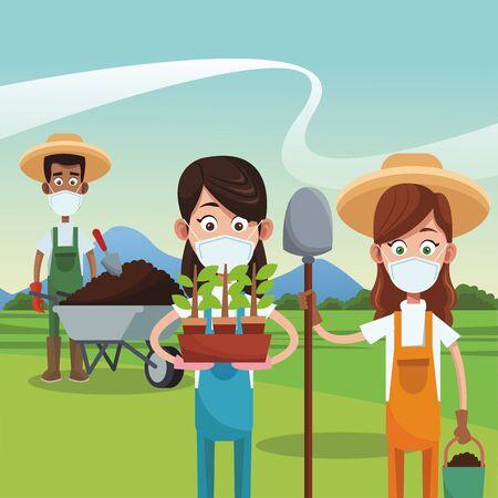 farmers wearing medical masks scene vector illustration design