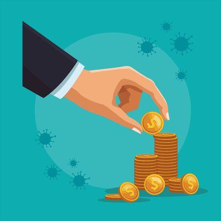 businessman hand with coins money dollars vector illustration design Ilustração