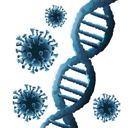 corona virus particles and dna molecules background vector illustration design