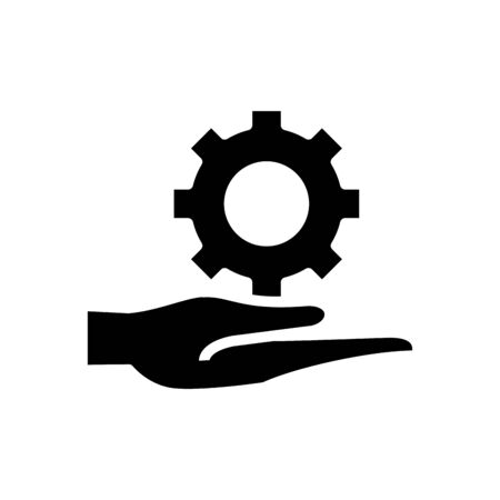 hand lifting gear machine silhouette style vector illustration design