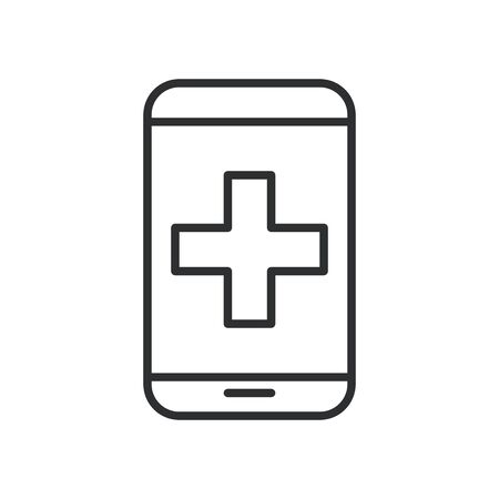 smartphone with medical app line style vector illustration design