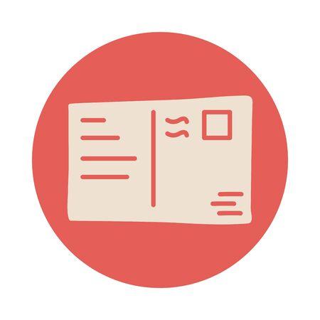 postal stamp block style icon vector illustration design