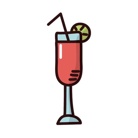 cocktail cup fill style icon vector illustration design