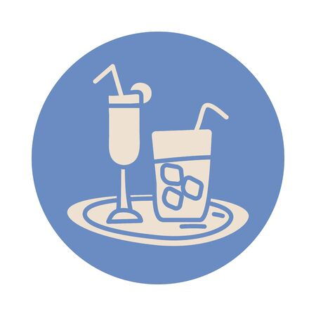 cocktail cup and juice block style icon vector illustration design