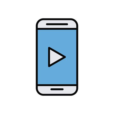 smartphone with media player line and fill style icon vector illustration design