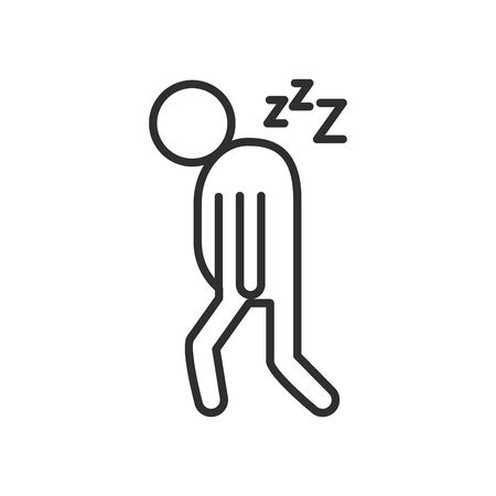 person with drowsiness covid19 symptom line style icon vector illustration design