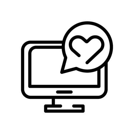 desktop with heart in speech line style icon vector illustration design