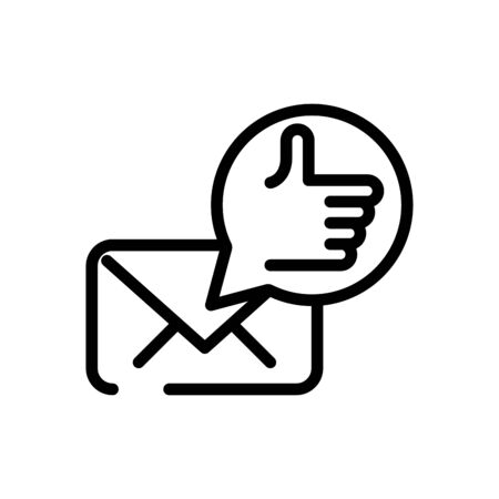 envelope with hand like social media marketing line style vector illustration design