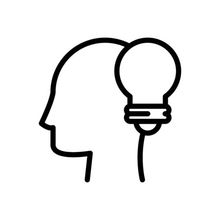 profile with bulb line style icon vector illustration design