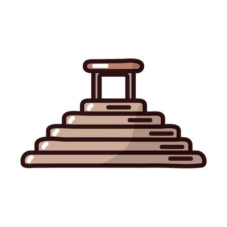 mayan pyramid fill style icon vector illustration design