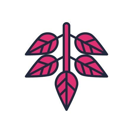 branch with leafs fill style icon vector illustration design