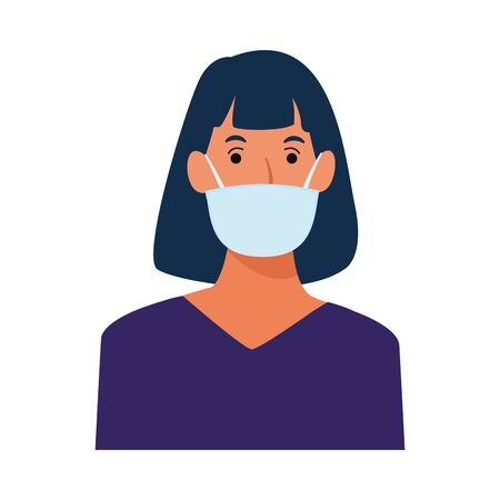 woman using face mask for covid19 character vector illustration design