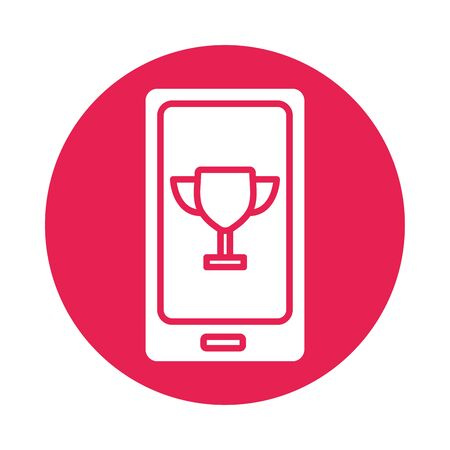 smartphone with trophy cup block style icon vector illustration design