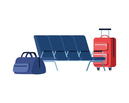 travel suitcase equipment with waitroom chairs vector illustration design