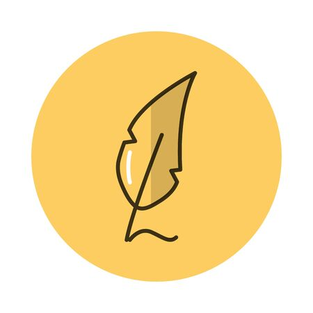 fount feather block style icon vector illustration design Illustration