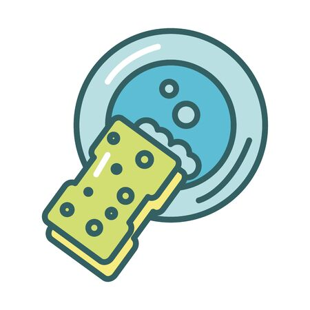 clean sponge with dish fill style icon vector illustration design