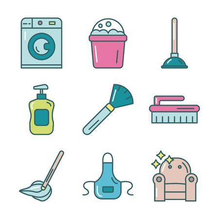 cleaning and disinfect set icons vector illustration design
