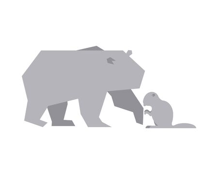 polar bear and beaver animals vector illustration design