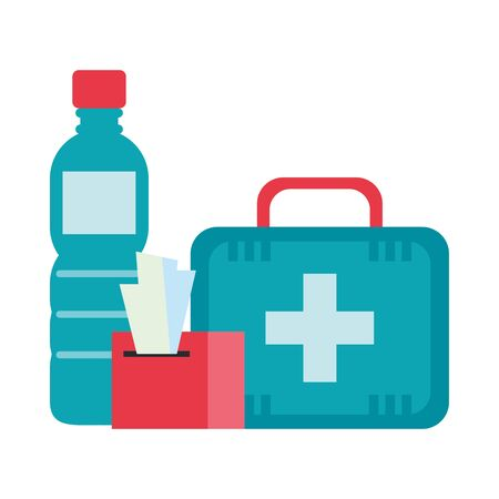 medical kit with water bottle and damp cloths vector illustration design