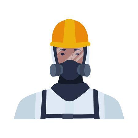 worker wearing biosafety suit white vector illustration design
